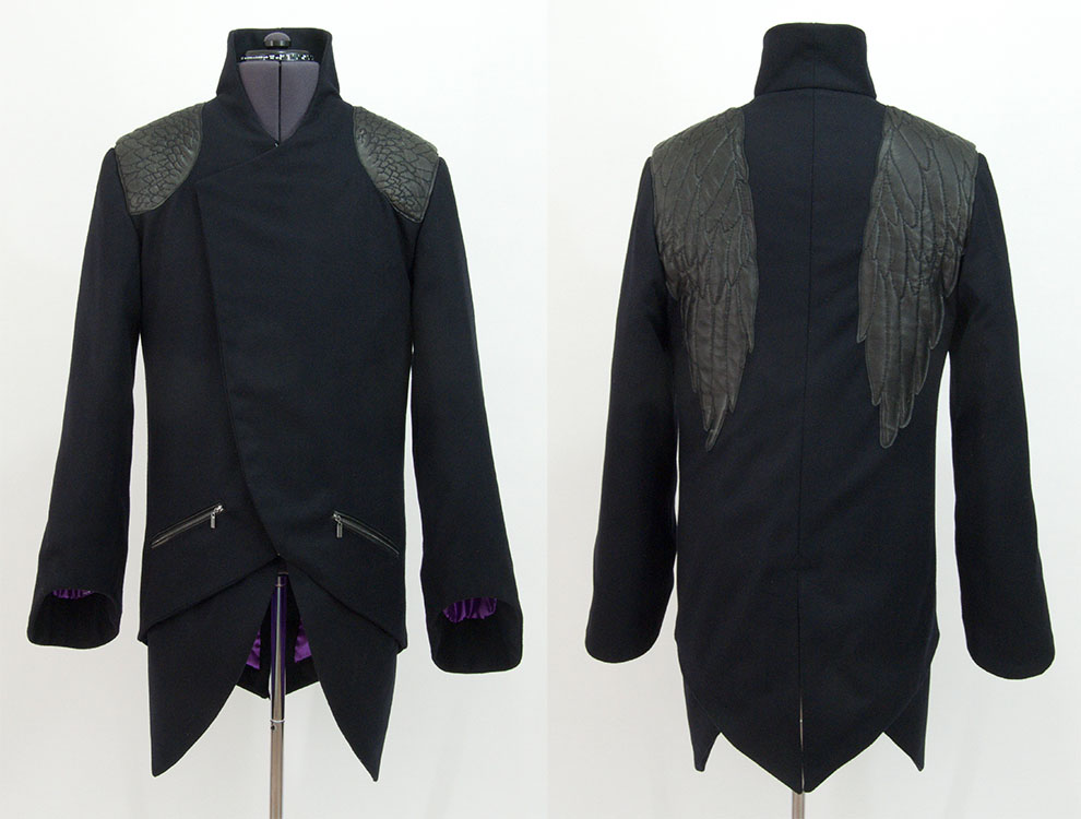 'Angelus' cashmere and recycled leather coat