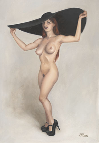 Giant hat nude pin-up